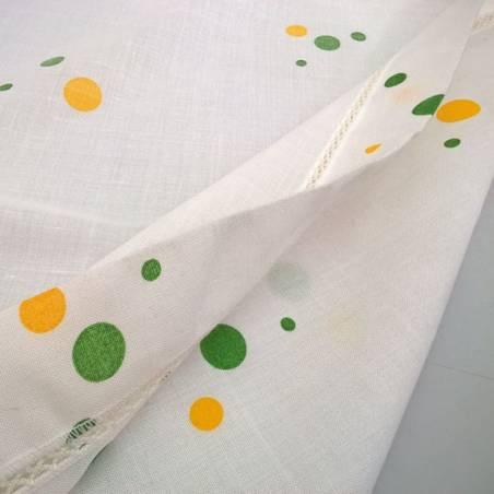 Tessuto per tendini motivi a pois verde e giallo - bianco