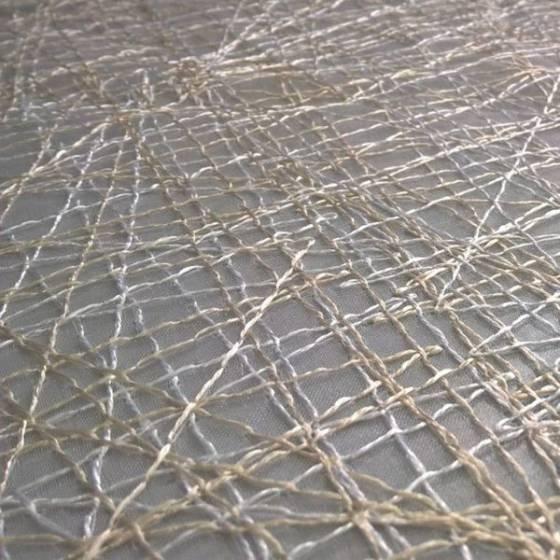 Tendino in organza con fili ricamati a trama intrecciata - avorio