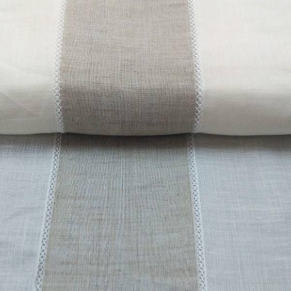 Tendino misto lino a fasce con effetto naturale garzato - avorio e panna