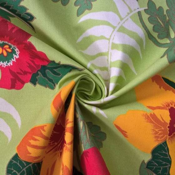Tessuto arredo motivo floreale esotico - verde
