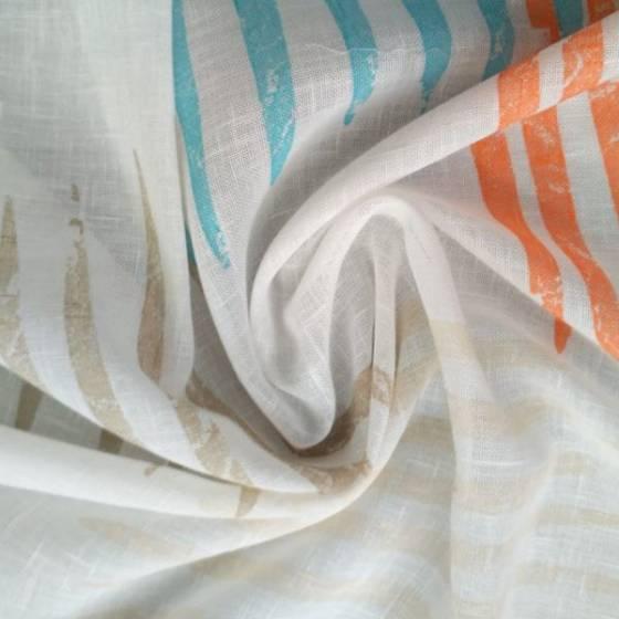 Tessuto per tendaggi con motivi multicolore - bianco e multicolor