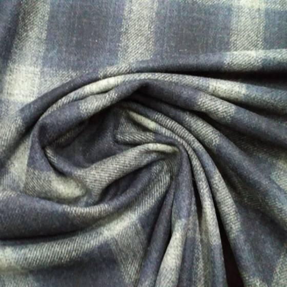 Tessuto per abiti e cappotti a pannetto con motivo a quadri - blu/nero