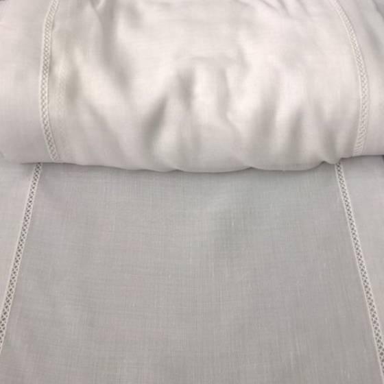 Tendino misto lino rifinito a crochet - bianco
