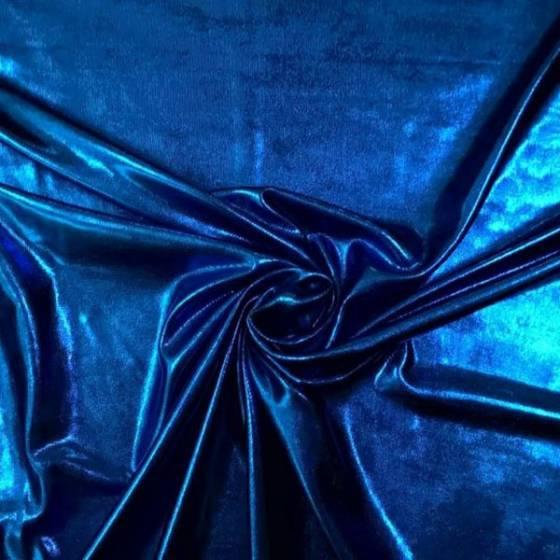 Tessuto per abiti in lycra glitterata - blu/fucsia