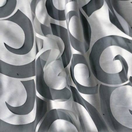 Tessuto tendaggio elegante motivo a spirali - grigio/bianco