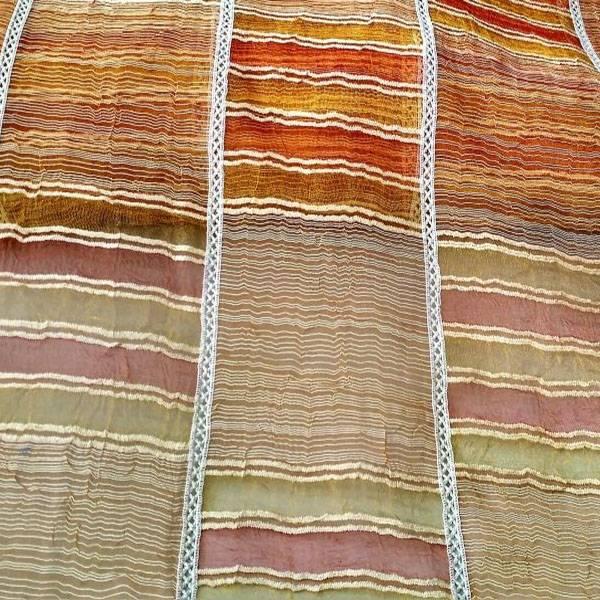 Tendino in organza bordato a crochet con quadri e righe - multicolor