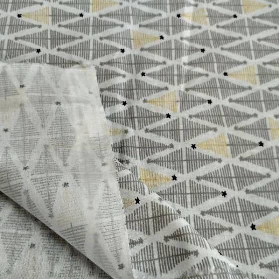Tessuto in cotone francese motivo natalizio - grigio e bianco