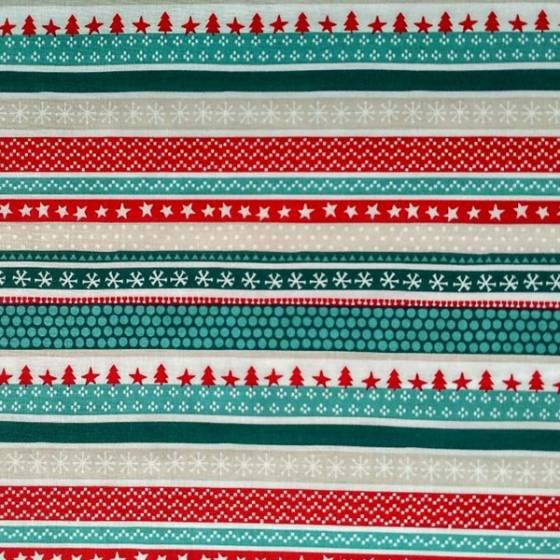 Tessuto in cotone francese motivo natalizio - rosso e verde