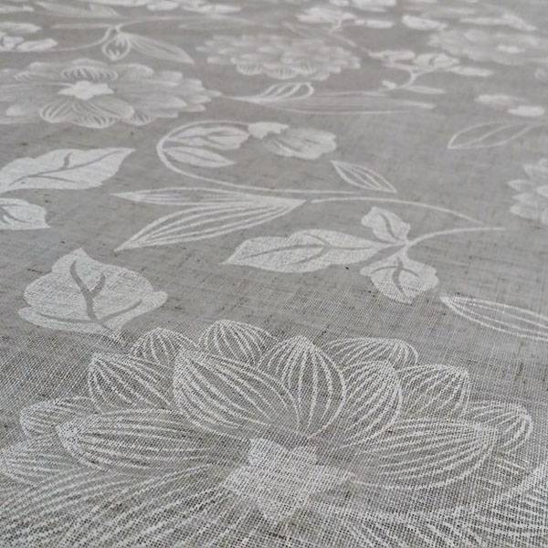 Tessuto tendaggio romantico chic con texture floreale - avorio