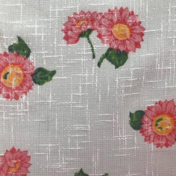 Tendino rustico decorato con fantasia a fiori - bianco
