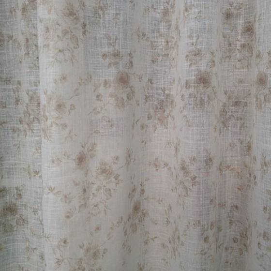 Tessuto tendaggio floreale misto lino Giacarta - bianco/tortora