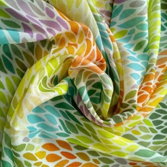 Tessuto tendaggio efetto seta - grigio/multicolor