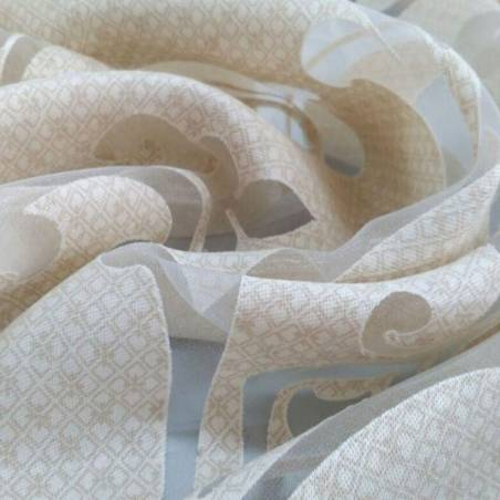 Tessuto tendaggio damascato - bianco/tortora/panna