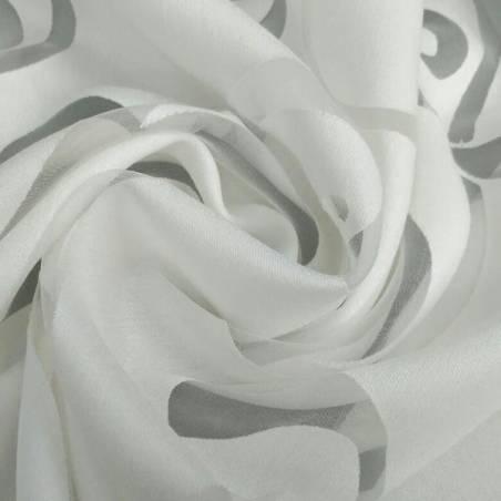 Tessuto tendaggio stile liberty devorè - bianco/tortora