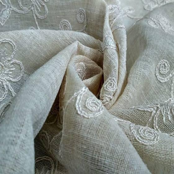 Tessuto per tendaggi country motivo floreale - tortora