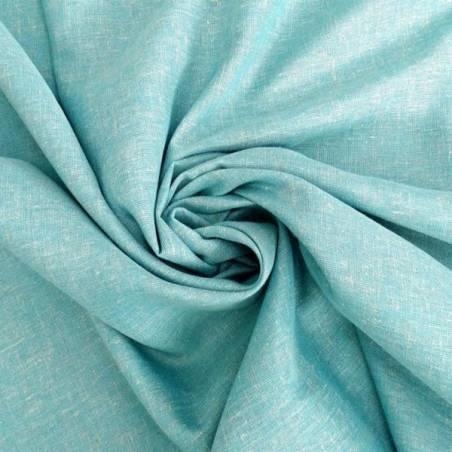 Tessuto per tendaggio effetto lino mèlange - turchese
