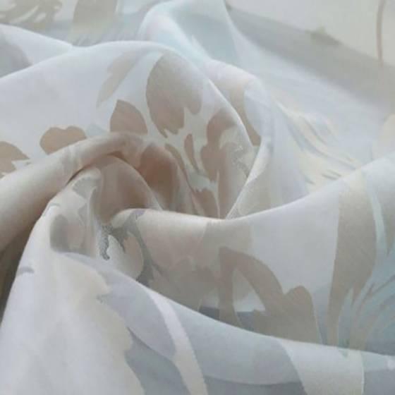 Tessuto per tendaggio devorè con fantasia floreale - bianco e tortora rosato