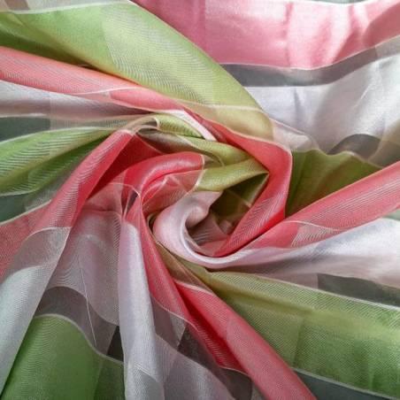 Tessuto per tendaggi a quadretti con effetto semitraspaente e pastello - verde rosa e bianco