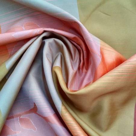Tessuto per tende motivo floreale multicolor - arancione, rosso e giallo