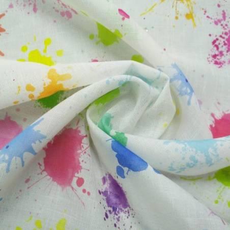 Tendino bianco con fantasia a macchie multicolor