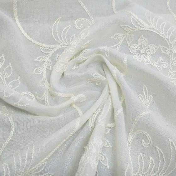 Tessuto per tende ricamato a fiori - bianco