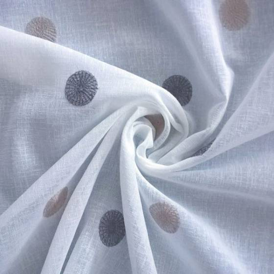 Tessuto per tende motivo a pois ricamati grigio e tortora - bianco