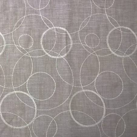 Tessuto tendaggio fantasia a cerchi - bianco/grigio/tortora