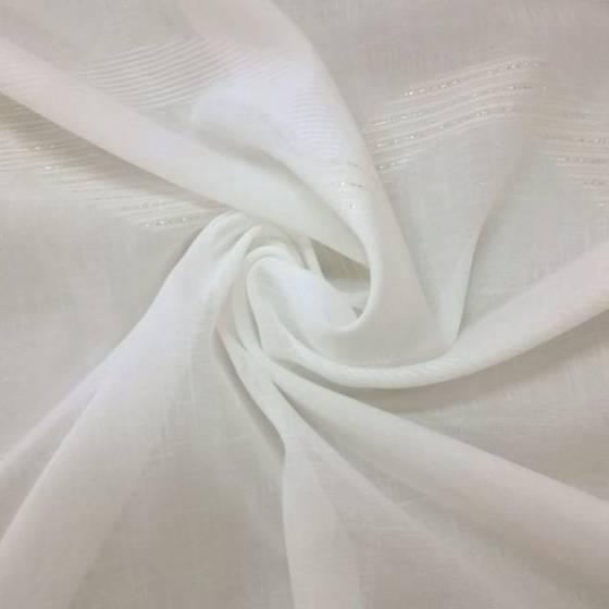 Tessuto per tende motivo catene con fili lucidi - bianco