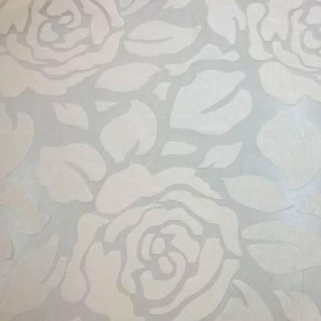 Tessuto tendaggi in organza Roses Vibe - panna/tortora