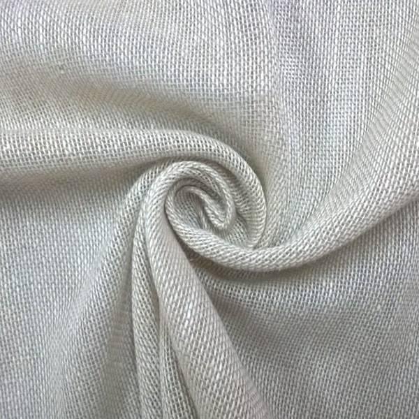 Tessuto tendaggio misto lino e cotone con trama bianca - tortora