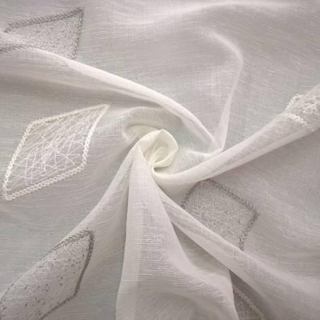 Tessuto per tendaggio e tendini con patch ricamate - bianco e grigio