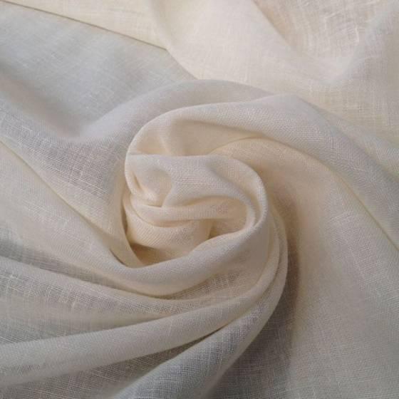 Tessuto per tende in misto lino elegante - panna