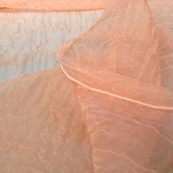 Tessuto tendaggio in organza liscia e stropicciata - Arancione/Rosa/Nocciola