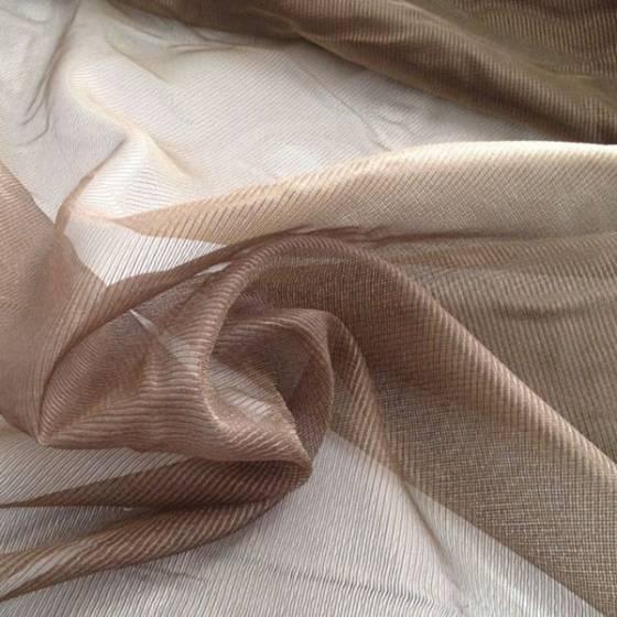 Tessuto tendaggio in organza a fili effetto luminoso - marrone