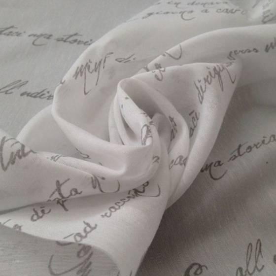 Tendaggio moderno a fantasia scritte grigie - bianco