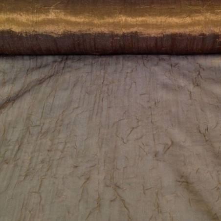 Tendaggio in organza effetto stropicciato dorato - marrone