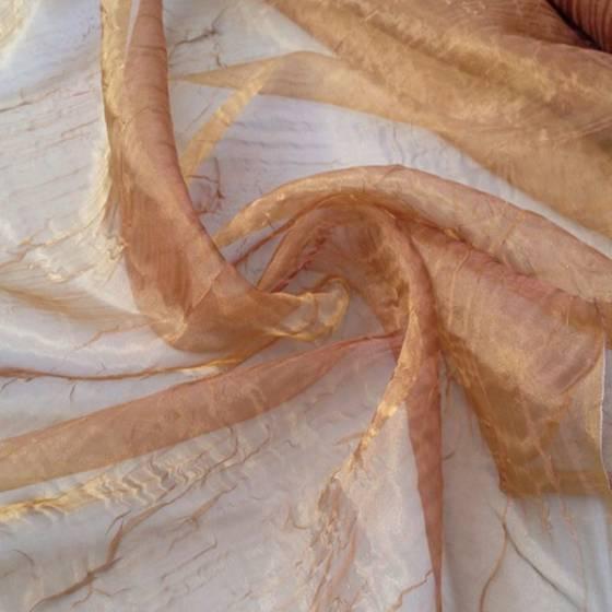 Tendaggio in organza effetto stropicciato dorato - giallo sabbia