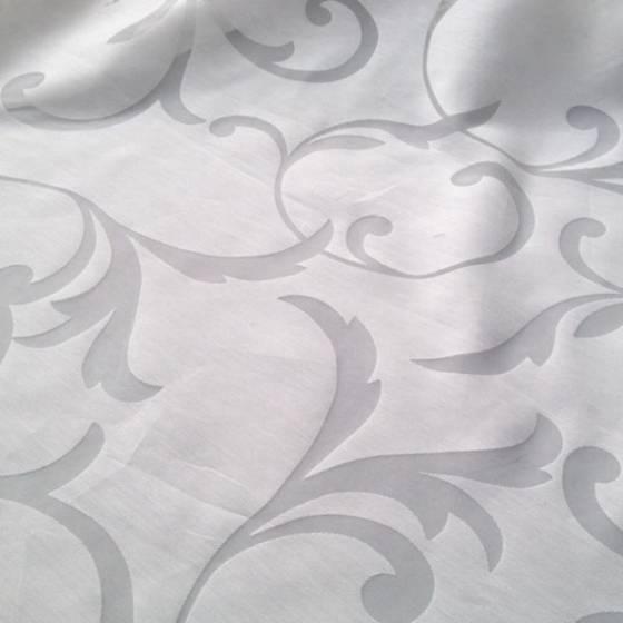 Tessuto tendaggio motivo floreale damascato - bianco/grigio