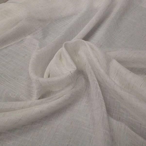 Tessuto tendaggio ad effetto stropicciato con filamenti - bianco panna