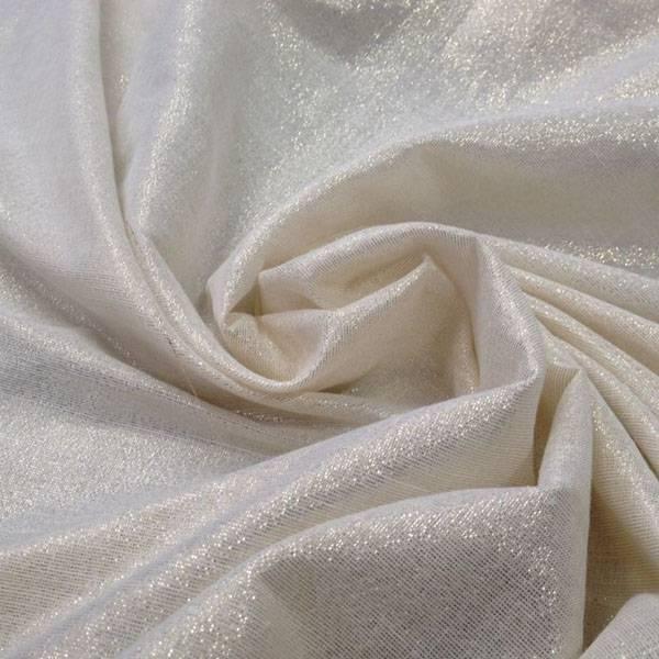 Tessuto tendaggio in misto lino con filamenti oro - panna