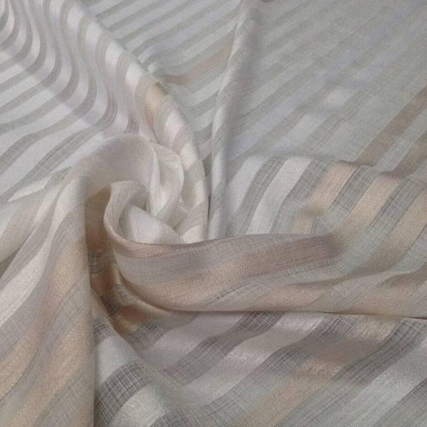 Tessuto tendaggio Bristol motivo a righe verticali colorate - sfondo beige/bianco