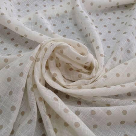 Tessuto tendaggio Giacarta motivo a pois - panna/tortora