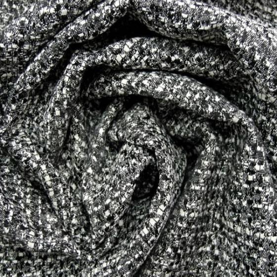 Tessuto per arredo e  rivestimenti in cotone - bianco e nero intrecciato
