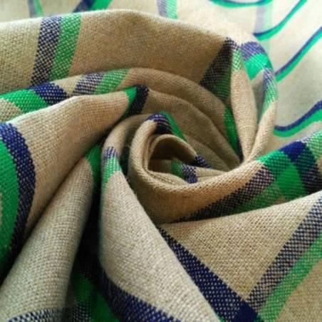 Tessuto per arredamento in stile country moderno - beige motivi blu e verdi