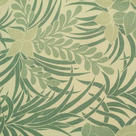 Tessuto per arredamento fantasia jungle con foglie stilizzate - bianco e verde
