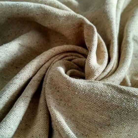 Tessuto per arredamento canapa misto cotone effetto mèlange - sabbia