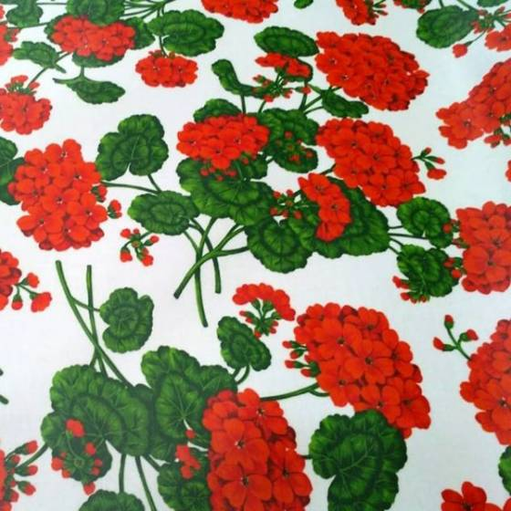 Tessuto per tovagliato plastificato floreale con gerani - bianco rosso e verde
