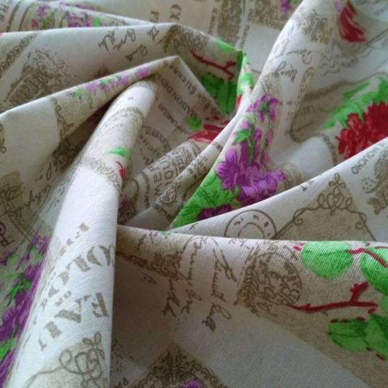 Tessuto per arredamento e tovagliato shabby floreale con lettering francese - multicolor