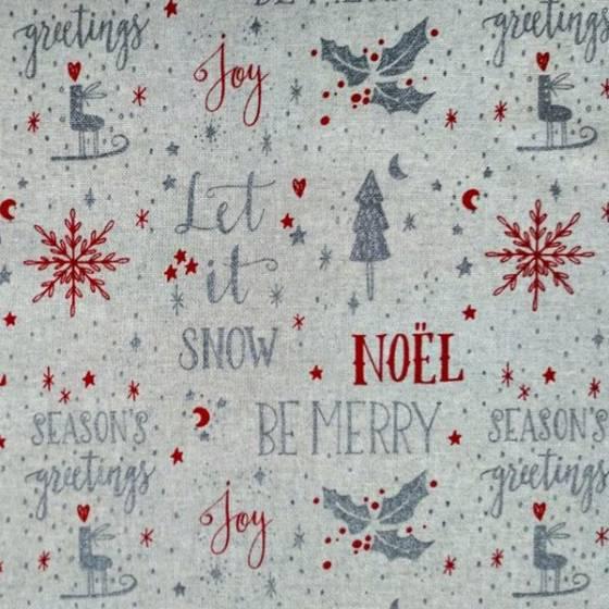 Tessuto per tovagliato natalizio con scritte - bianco grigio e rosso