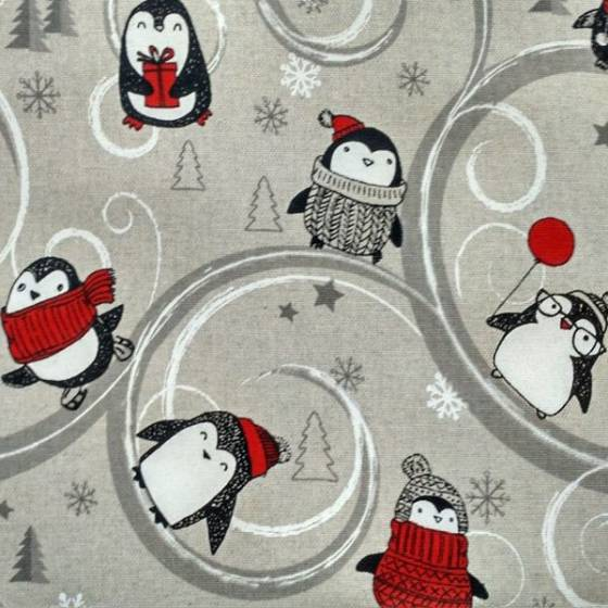 Tessuto per tovagliato natalizio con pinguini - multicolor